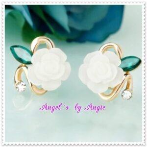 Náušnice Kvet Ruže - BIELE